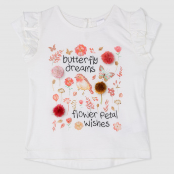 Butterfly Print T-Shirt with Floral Detailing