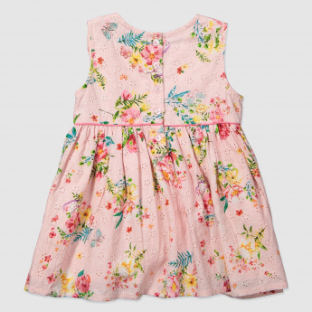 Floral Print Schiffli Dress with Frill Yoke