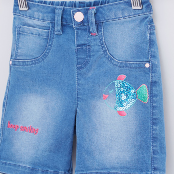 Embellished Denim Shorts with Button Closure and Embroidery