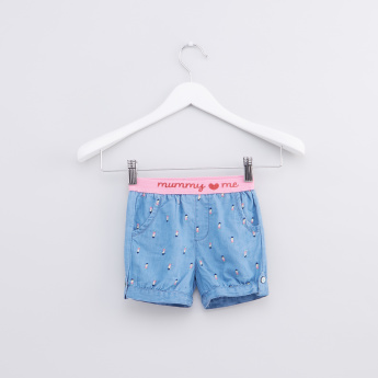 Embroidered Shorts with Elasticised Waistband and Pocket Detail