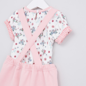 Printed T-Shirt with Suspender Skirt