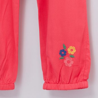 Floral Embroidered Trousers with Paper Bag Waist