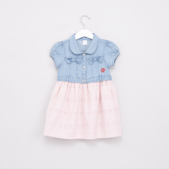 Schiffli and Bow Detail Denim Dress