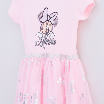 Minnie Mouse Printed Cap Sleeves Dress