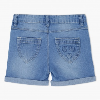 Denim Shorts with Roll Up Hem
