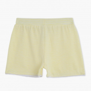 Striped Shorts with Ruffled Hem and Drawstring