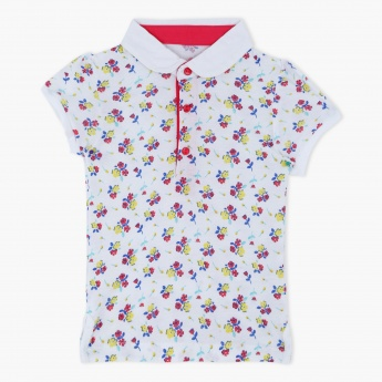 Floral Print Short Sleeves Polo Neck T-Shirt