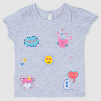 Melange Short Sleeves Printed T-Shirt