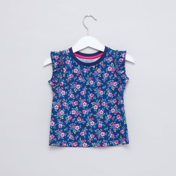 Floral Printed Sleeveless T-Shirt