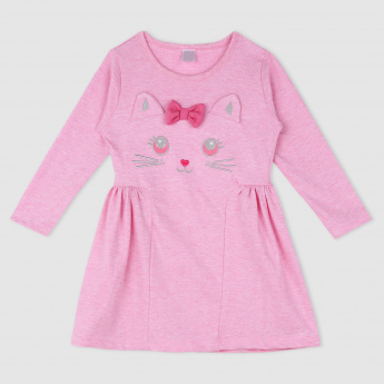Knit Dress with Cat Face Applique