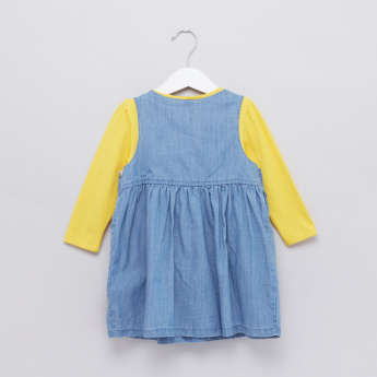 Long Sleeves T-Shirt with Embroidered Denim Pinafore