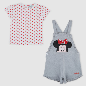 Minnie Mouse Printed T-Shirt with Dungarees