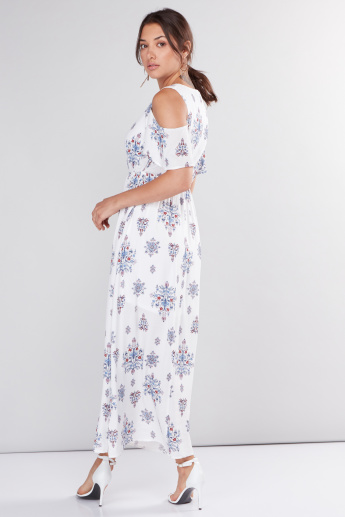 Printed Cold Shoulder Maxi Dress with Tie Up