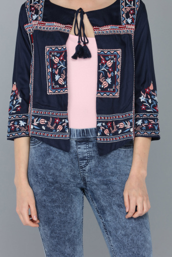 Embroidered Shrug with Tie-Up Closure and Tassels