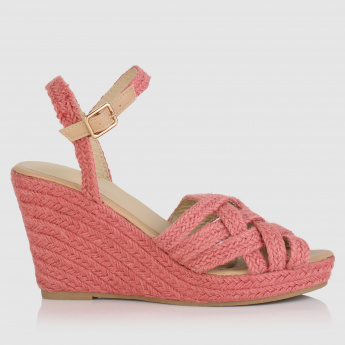 Textured Wedges with Buckle Strap