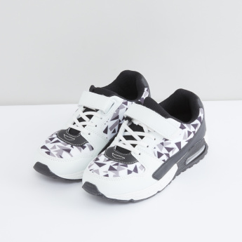 Printed Sport Shoes with Elasticated Laces and Hook and Loop Closure