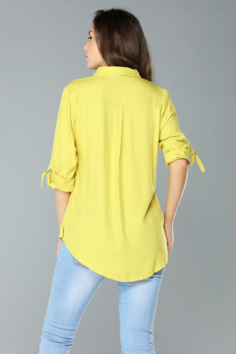 Pocket Detail Shirt with Long Sleeves and Complete Placket
