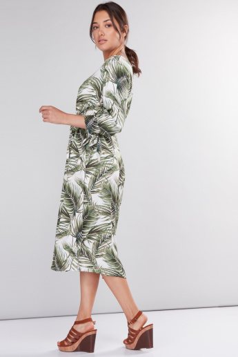 Printed Midi Dress with 3/4 Sleeves and Tie Up