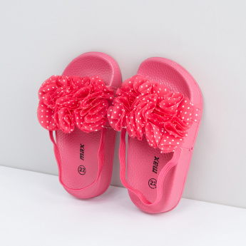 Textured Slides with Flower Applique Detail