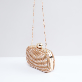 Studded Clutch with Kiss Lock and Removable Chain Strap