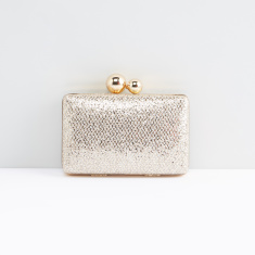 Textured Clutch with Kiss Lock