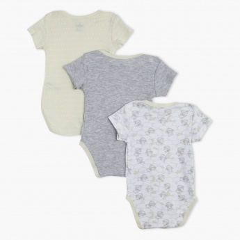 Sheep Print Short Sleeves Bodysuit - Set of 3