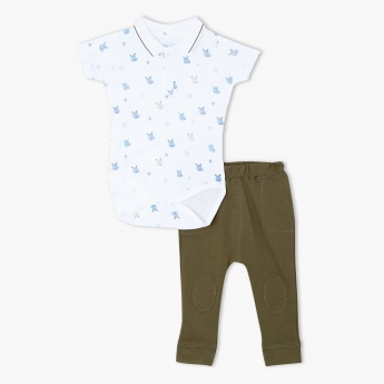 Hippo Print Romper and Jog Pants Set