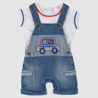 Embroidered Dungaree and T-Shirt Set
