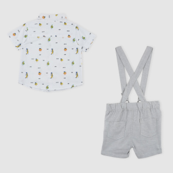 Printed Shirt with Suspender Shorts