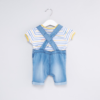 Striped T-Shirt with Denim Dungarees