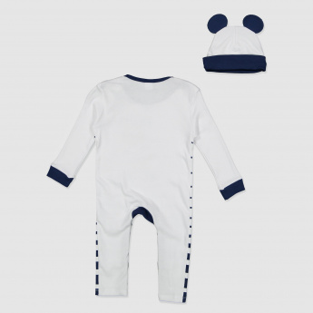 Mickey Mouse Print Sleepsuit and Cap Set