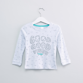 Good Vibes Printed Long Sleeves T-Shirt with Jog Pants