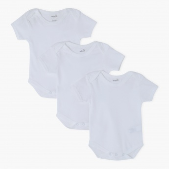 Round Neck Short Sleeves Bodysuit - Set of 3