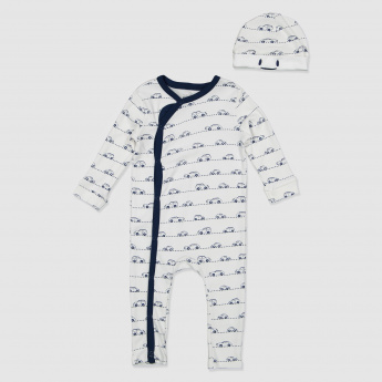 Cars Printed Sleepsuit and Cap Set