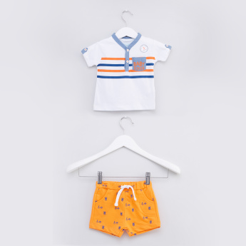 Striped Short Sleeves T-Shirt with Printed Shorts