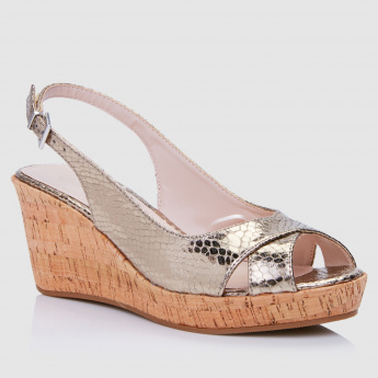 Textured Wedges with Buckle Closure