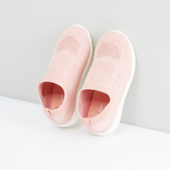 Textured Slip-On Shoes with Ribbed Collar