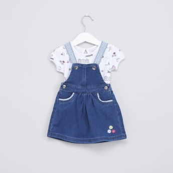 2ee40eae28 Nautical Printed Bodysuit with Denim Pinafore