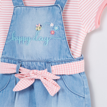 Striped Bodysuit with Embroidered Pinafore Dress
