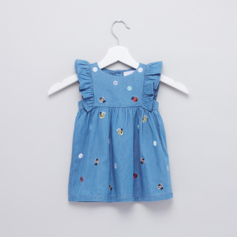 Embroidered Frill Detail Denim Dress with Bloomer Briefs