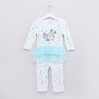 Minnie Mouse Printed Frill Detail Sleepsuit