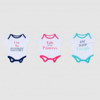 Printed Short Sleeves Bodysuit - Set of 3