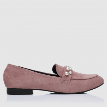 Pearl Embellished Slip-On Shoes