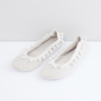 Printed Bedroom Shoes with Pom-Pom Detail