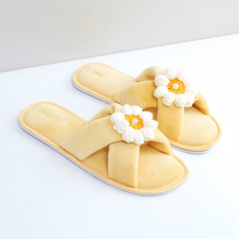 Plush Slides with Crossed Straps and Flower Applique