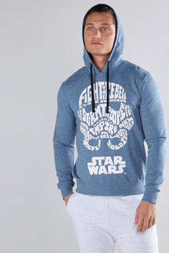 Star Wars Printed Sweatshirt with Long Sleeves and Hood