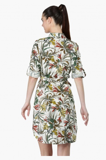 Printed Roll-Up Sleeves Shift Dress