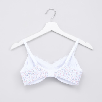 Maternity Printed Bra with Lace Detail and Hook and Eye Closure