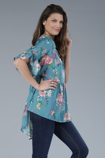 Printed Top with Round Neck and Short Sleeves