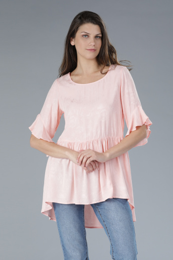 Jacquard Top with Round Neck and Short Sleeves